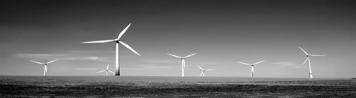 Power Wind Turbines on open grassland